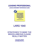 LARG 1640 Strategies To Make The Miscellaneous Clause Really Matter