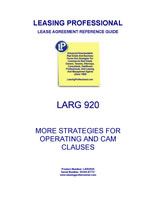 LARG 920 More Strategies For Operating And CAM Costs