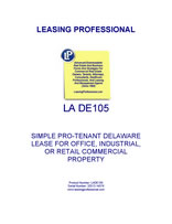 LA DE105 Simple Pro-Tenant Delaware Lease For Office, Industrial, Or Retail Commercial Property