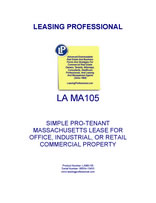 LA MA105 Simple Pro-Tenant Massachusetts Lease For Office, Industrial, Or Retail Commercial Property
