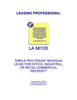 LA MI105 Simple Pro-Tenant Michigan Lease For Office, Industrial, Or Retail Commercial Property