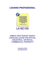 LA NC105 Simple Pro-Tenant North Carolina Lease For Office, Industrial, Or Retail Commercial Property
