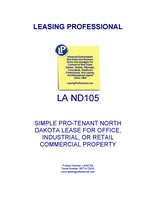 LA ND105 Simple Pro-Tenant North Dakota Lease For Office, Industrial, Or Retail Commercial Property