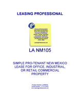 LA NM105 Simple Pro-Tenant New Mexico Lease For Office, Industrial, Or Retail Commercial Property