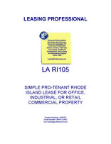 LA RI105 Simple Pro-Tenant Rhode Island Lease For Office, Industrial, Or Retail Commercial Property