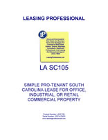 LA SC105 Simple Pro-Tenant South Carolina Lease For Office, Industrial, Or Retail Commercial Property