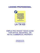 LA TX105 Simple Pro-Tenant Texas Lease For Office, Industrial, Or Retail Commercial Property