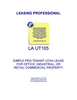 LA UT105 Simple Pro-Tenant Utah Lease For Office, Industrial, Or Retail Commercial Property